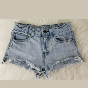 Free People Distressed Button Fly Denim Shorts 24